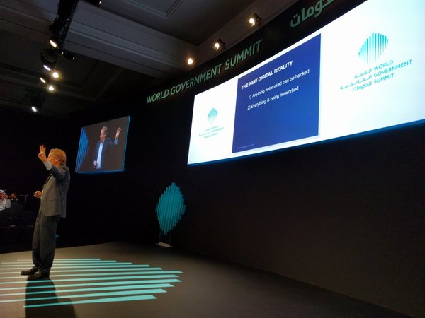 """""""1. Anything networked can be hacked. 2. Everything is being networked. 3. ..."""" @RodBeckstrom #Worldgovsummit pic.twitter.com/FGacXEssTR"""