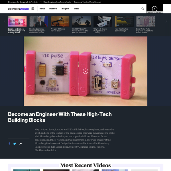 May 1 -- Ayah Bdeir, founder and CEO of littleBits, is an engineer, an interactive artist, and one of the leaders of the open-source hardware movement. She spoke with Bloomberg about the impact she hopes littleBits will have on future generations and their relationship with hardware.