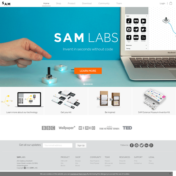 SAM Labs' wireless blocks and drag-and-drop app allow anyone to learn the basics of programming and become an instant inventor. Shop our range of kits and blocks now