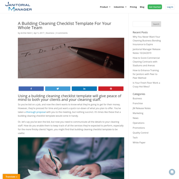 A Building Cleaning Checklist Template For Your Whole Team - Janitorial Manager