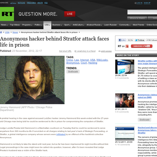 Anonymous hacker behind Stratfor attack faces life in prison - RT