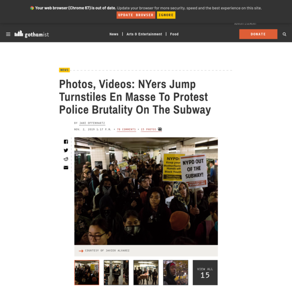 Photos, Videos: NYers Jump Turnstiles En Masse To Protest Police Brutality On The Subway