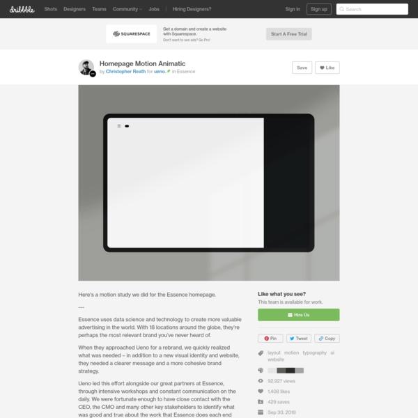 Homepage Motion Animatic