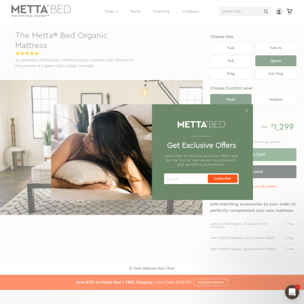 The Metta® Bed Organic Mattress