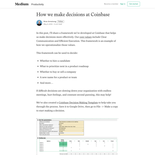 How we make decisions at Coinbase