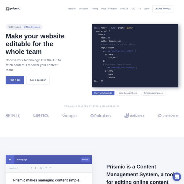 Make your website editable for the whole team - Prismic