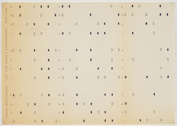 Toshi Ichiyanagi. 'IBM for Merce Cunningham'. 1960. Master for the Fluxus Edition, typed and drawn by George Maciunas, New York.