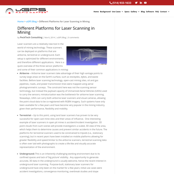 Different Platforms for Laser Scanning in Mining