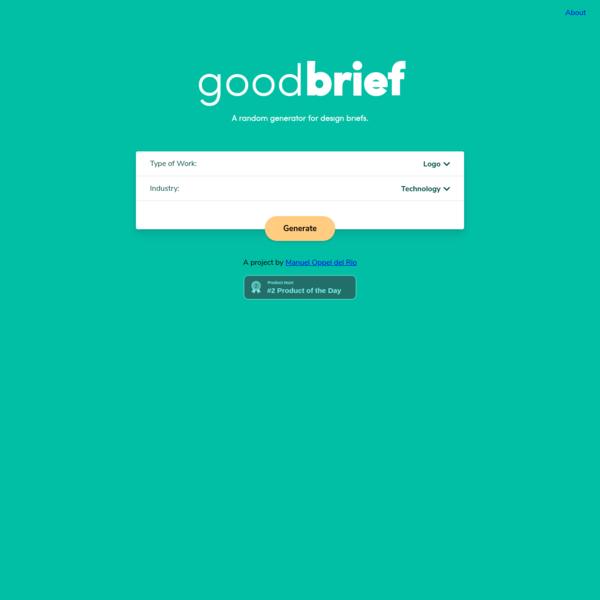Get Unique Design Briefs - Creative Brief Generator   Good Brief