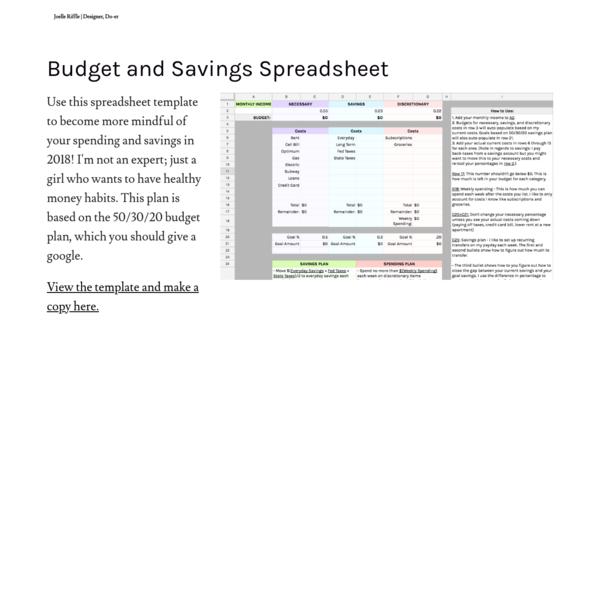 Budget and Savings Spreadsheet -