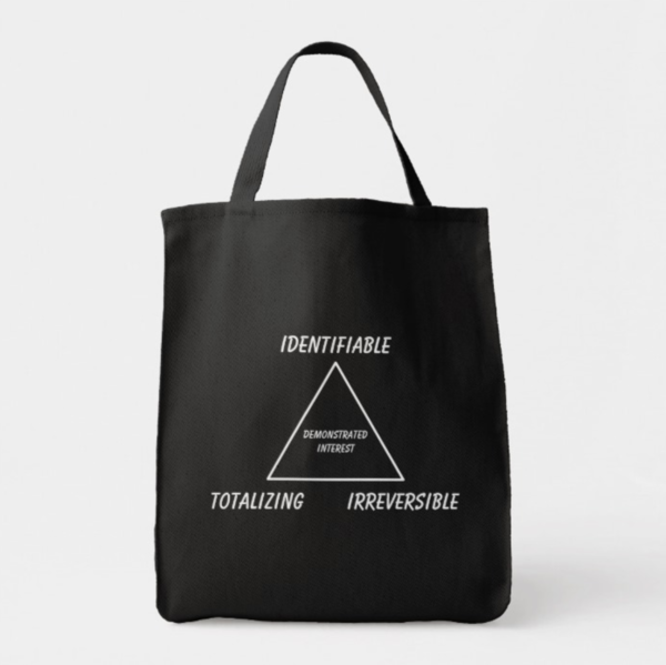 """""""IDENTIFIABLE / TOTALIZING / IRREVERSIBLE: DEMONSTRATED INTEREST"""" triangle grocery tote"""