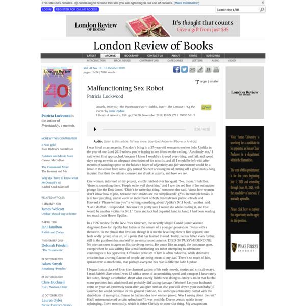 LRB · Patricia Lockwood · Malfunctioning Sex Robot: Updike Redux