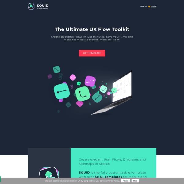 SQUID UI Flow Template - Design Beautiful User Flows faster. UX Flow Kit for Sketch | UXMISFIT.COM