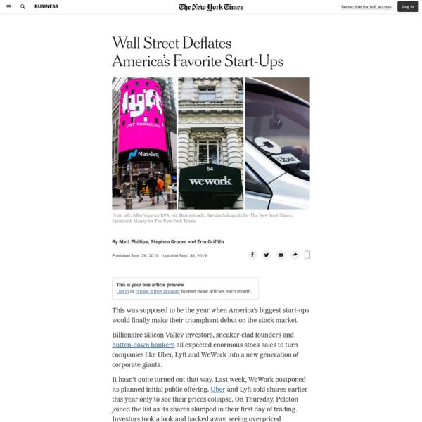 Wall Street Deflates America's Favorite Start-Ups