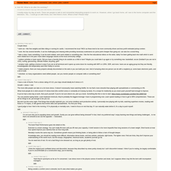 Ask HN: What to do after the workday? | Hacker News