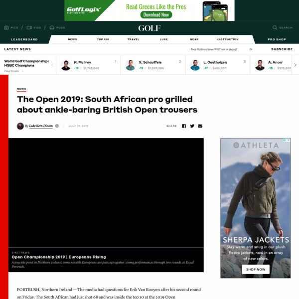 The Open 2019: Erik van Rooyen grilled about ankle-baring trousers