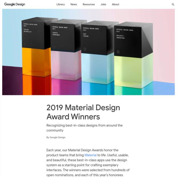 2019 Material Design Award Winners - Library - Google Design