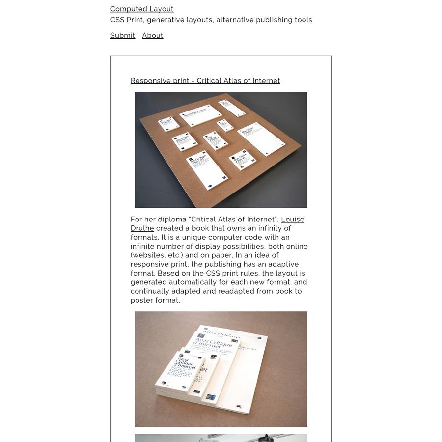 CSS Print, generative layouts, alternative publishing tools.
