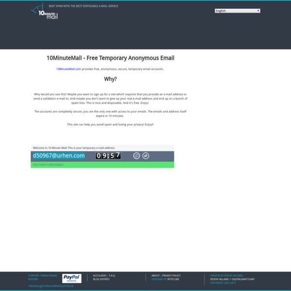 10 Minute Mail - Free Anonymous Temporary EMail