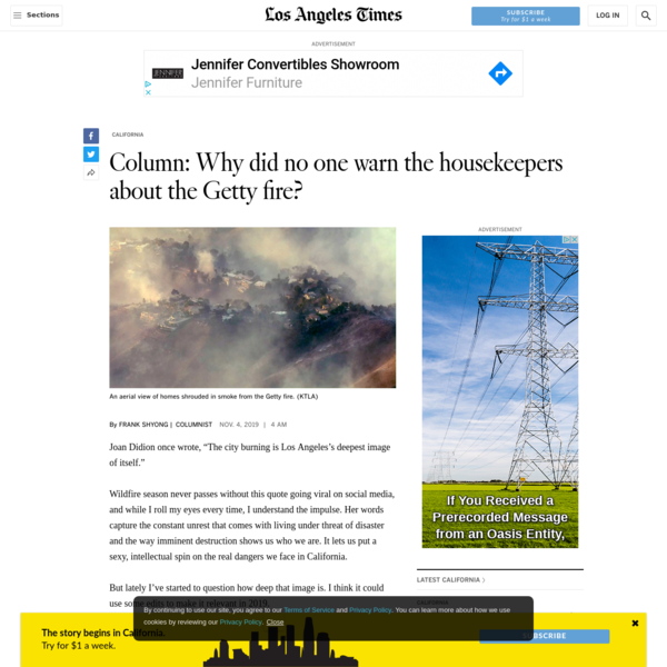 Column: Why did no one warn the housekeepers about the Getty fire?