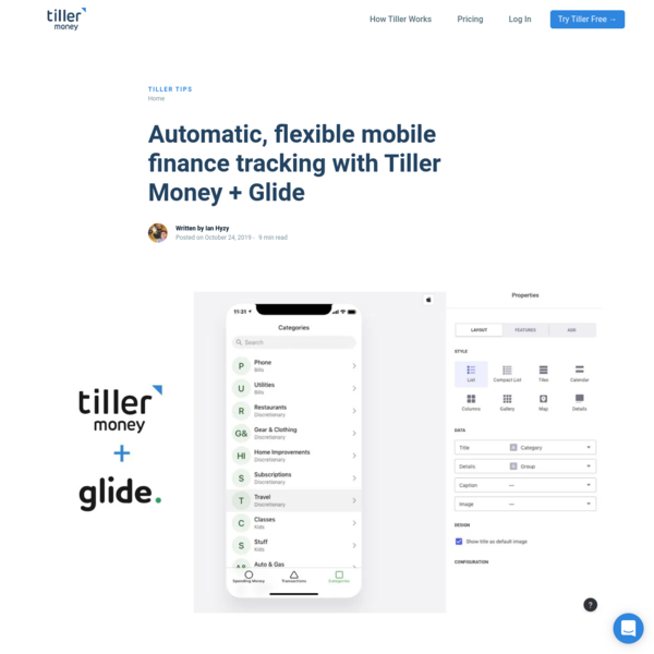 Automatic mobile finance tracking with Tiller Money + Glide