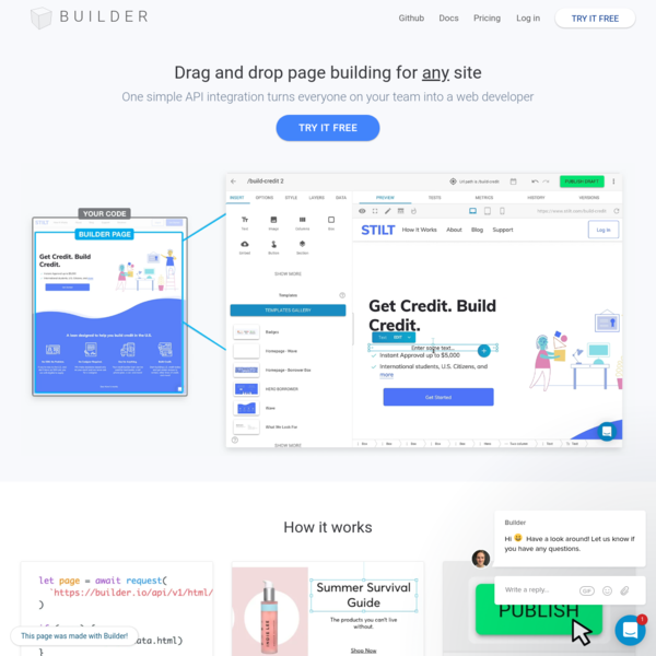 Builder: Drag and drop page building for any site