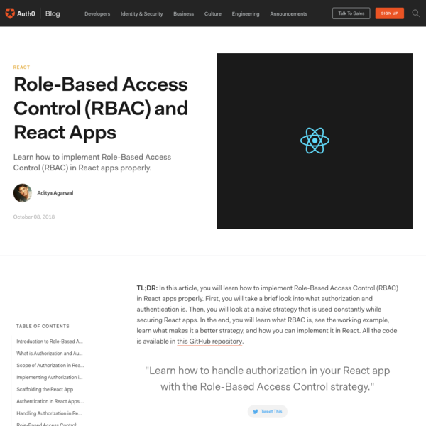 Role-Based Access Control (RBAC) and React Apps