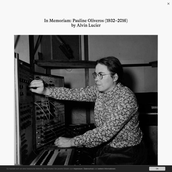 In Memoriam: Pauline Oliveros (1932-2016)