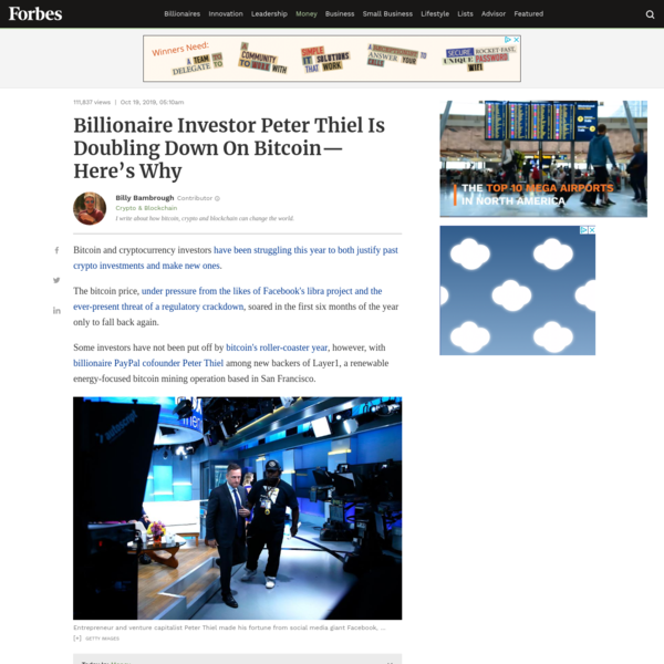 Billionaire Investor Peter Thiel Is Doubling Down On Bitcoin-Here's Why