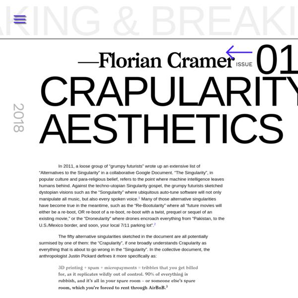 Crapularity Aesthetics | Making & Breaking