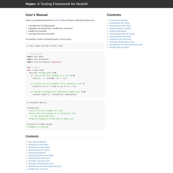 Hspec: A Testing Framework for Haskell
