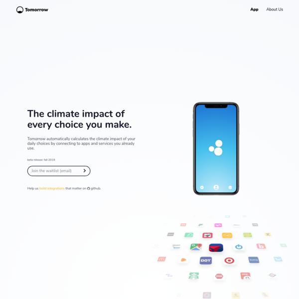 Tomorrow - The Climate Impact of Every Choice You Make.