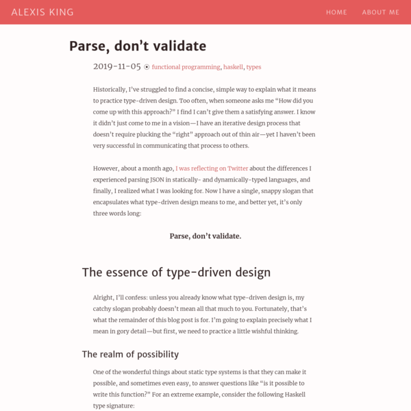 Parse, don't validate