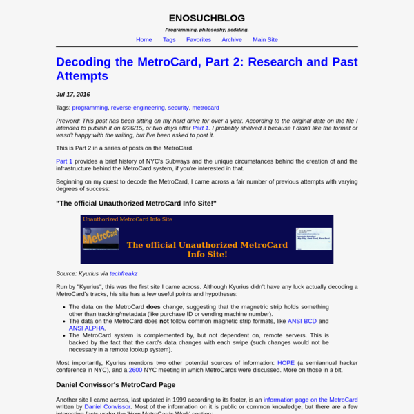 Decoding the MetroCard, Part 2: Research and Past Attempts