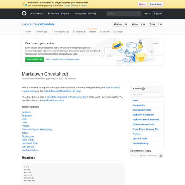 Markdown Cheatsheet · adam-p/markdown-here Wiki · GitHub