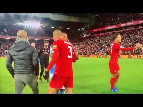 "Pep Guardiola Approaches Refs and says ""Thank you so much"" (Liverpool 3-1 Manchester City)"