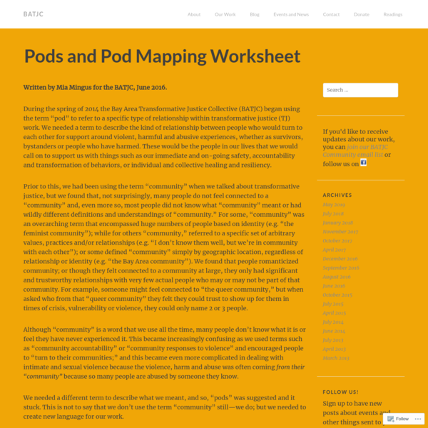 Pods and Pod Mapping Worksheet
