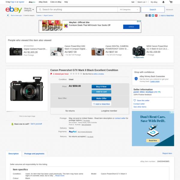 Canon Powershot G7X Mark II Black Excellent Condition | eBay