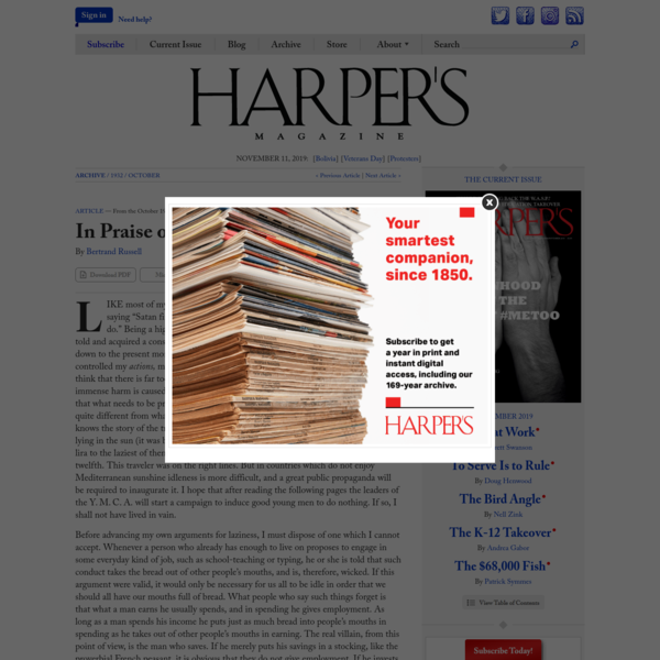 In Praise of Idleness, by Bertrand Russell | Harper's Magazine