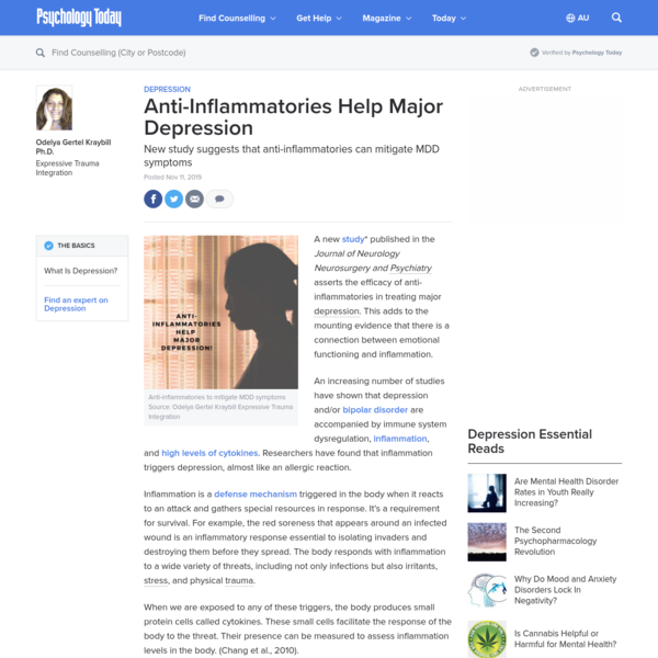 Anti-Inflammatories Help Major Depression