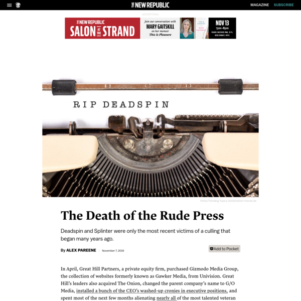 The Death of the Rude Press