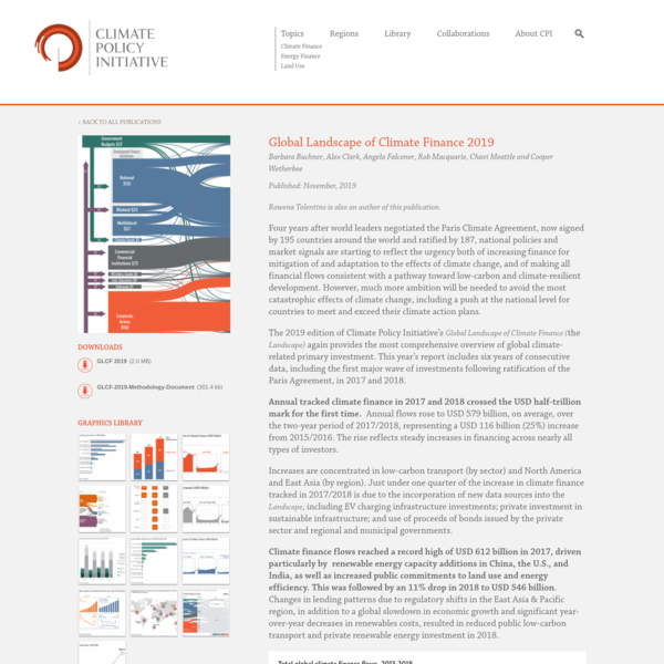 Global Landscape of Climate Finance 2019 - CPI