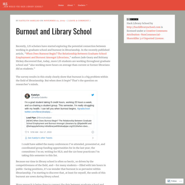 Burnout and Library School