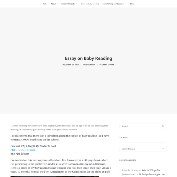 Essay on Baby Reading