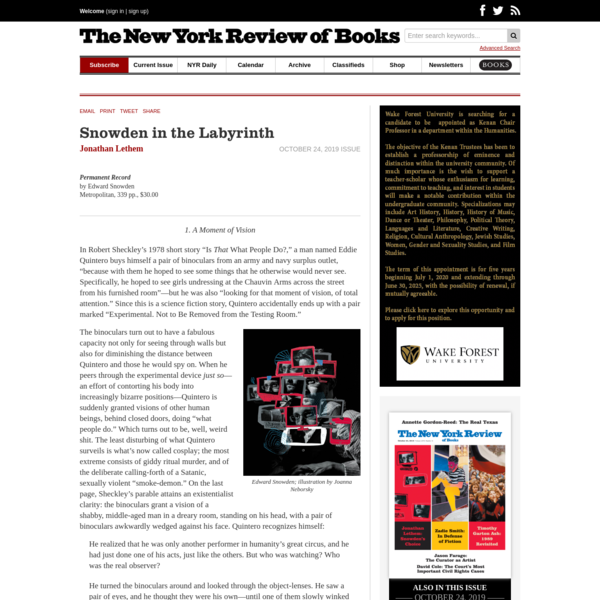 Snowden in the Labyrinth | by Jonathan Lethem | The New York Review of Books