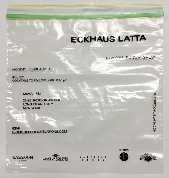Eckhaus Latta AW16 Invitations. Screen print on one gallon Ziploc bag. Sent sealed with a shorn tuft of hair from Zoe Latta's dog Goose. Designed by Eric Wrenn.