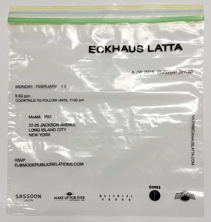 Eckhaus Latta AW16 Invitations. Screen print on one gallon Ziploc bag. Sent sealed with a shorn tuft of hair from Zoe Latta's dog Goose. Designed by Eric Wrenn.