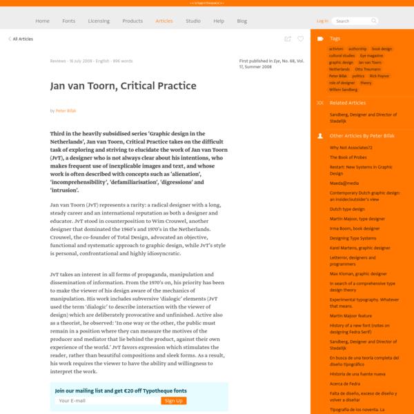 Typotheque: Jan van Toorn, Critical Practice by Peter Biľak