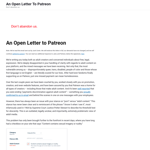 An Open Letter To Patreon - Don't abandon us.