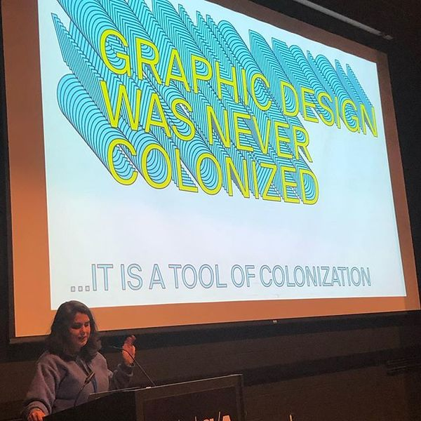 Elaine Lopez speaking about decolonizing design. @elopez12 @mica_gd